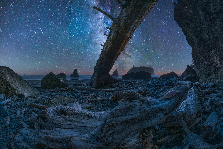 Night Sky at Ruby Beach, Oregon [OC][3000x2000]